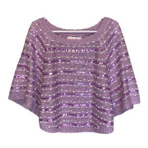 Justice Purple Cape Sleeve Sequin Top - 6/7